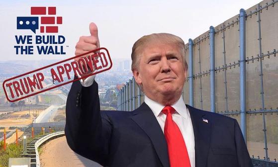 시민들의 돈을 모아 국경장벽을 세우겠다는 비영리단체 '위 빌드 더 월' 홈페이지 메인사진. [위빌드더월 홈페이지]
