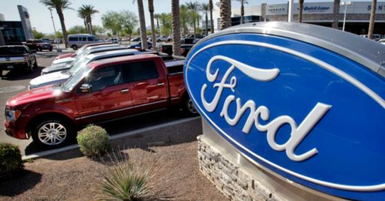 미국 자동차업체 포드가 지난 2월 리콜한 F-150 트럭 모델 전시장. [AP=연합뉴스]