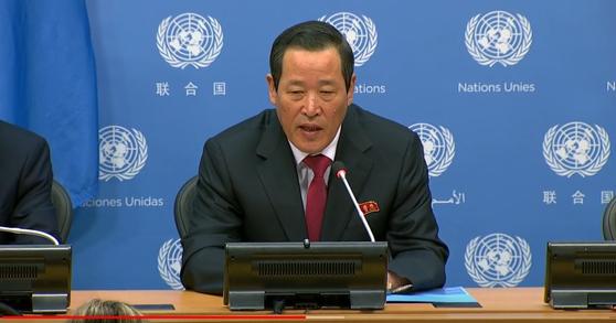 김성 유엔주재 북한 대사가 21일 뉴욕 유엔본부에서 기자회견을 열고 미국이 압류한 '와이즈 어니스트호'의 즉각 반환을 요구했다. [사진 유튜브 캡쳐]