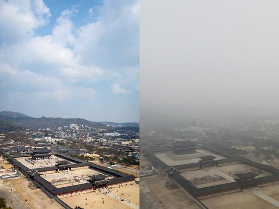 수도권 미세먼지가 '보통'수준을 보인 3월 7일 오후 서울 종로구 정부서울청사에서 바라본 경복궁 일대가 뚜렷하게 보이고 있다. 오른쪽은 지난 3월 5일 미세먼지가 '매우나쁨' 수준을 보인 경복궁 일대 모습. 전문가들은 국내 미세먼지 오염도가 평상시(6~10월)와 고농도 시즌(11~5월)에 큰 차이를 보이는 만큼 계절과 기상을 고려한 세밀한 정책이 필요하다고 지적한다.[뉴스1]