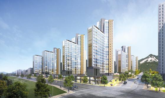 최근 4구역 착공으로 개발이 본격화하고 있는 서울 상계뉴타운 옆 당고개역 역세권에 2011가구(예정)의 대단지인 상계 빛그린이 공급 중이다. 상계뉴타운 개발에 따른 수혜효과가 예상돼 관심이 높다. 이미지는 상계 빛그린 투시도.
