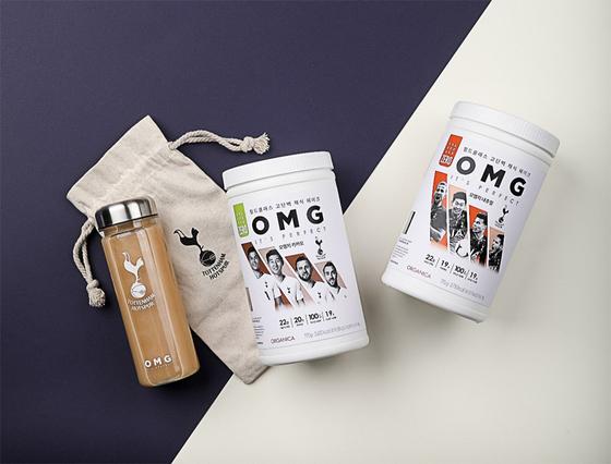 클린푸드 기업 올가니카가 식품 업계 최초로 영국 프리미어리그 토트넘 홋스퍼와 공식 라이선스 계약을 맺고 27일 고단백 채식 쉐이크인 OMG 업그레이드 버전을 출시한다. [사진 올가니카]