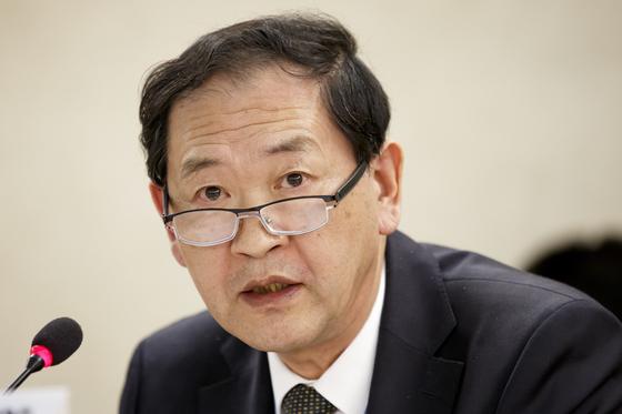 한대성 주제네바 북한대표부 대사가 22일(현지시간) 로이터통신과 인터뷰에서 미국에 압류된 화물선 와이즈 어니스트호 반환을 촉구했다. [EPA=연합뉴스]