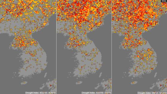미국 국립해양대기국(NOAA) 기상위성의 사진을 토대로 분석한 '가뭄지수'를 표시한 지도.   노란색에서 붉은색으로 변할수록 가뭄의 정도가 심각함을 의미한다. 사진은 올해 4월 마지막주(왼쪽 지도)부터 5월 첫째주(가운데), 5월 둘째주(오른쪽)의 변화. [연합뉴스]