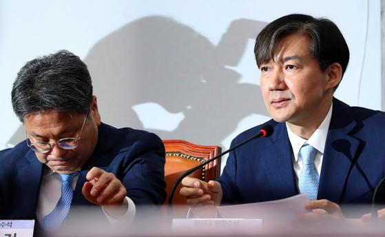 5월 20일 오전 국회에서 '경찰개혁의 성과와 과제'를 주제로 당정청 협의회가 열렸다. 조국 민정수석(오른쪽)이 발언하고 있다. 오종택 기자