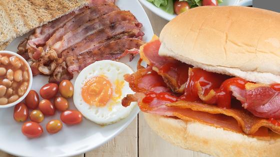 왼쪽은 full English Breakfast, 오른쪽은 bacon roll . 풀 잉글리시 브랙퍼스트는 한 접시에 소시지 , 달걀, 베이컨, 감자, 야채 등을 모두 올려 먹는 음식이다. 영국인들이 아침 식사로 가볍게 먹는 베이컨 롤은 빵 사이에 베이컨을 끼워 먹는 음식이다. [Freepik. uktv]