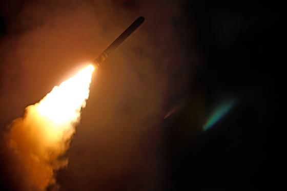 지난해 4월 시리아를 상대로 발사된 미 해상 순항미사일 토마호크의 모습. [AP]