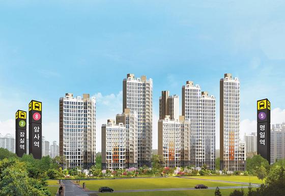 신강남권인 서울 강동구에 주변 아파트 시세의 60%에 가까운 수준의 가격에 공급되고 있어 주목받고 있는 암사 한강 투시도. 8호선 연장에 따른 수혜가 기대되는데다 주변 생활인프라가 풍부해 실수요자는 물론 투자자의 관심이 크다.