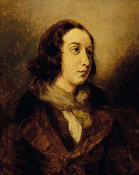 남장한 조르주 상드. 알프레드 뮈세와 헤어진 상드는 막 머리카락을 잘랐다. 얼굴에는 슬픔이 있다. 상드와 들라크루아는 이 그림을 그리면서 만나서 오랜 친구가 되었다. Delacroix, 1834. 국립 외젠 들라크로와 미술관 소장. [그림 Wikimedia Commons(Public Domain)]