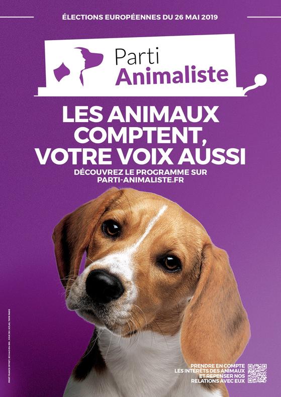 유럽의회 선거에 출사표를 던진 프랑스 동물당(Parti Animaliste)의 선거 포스터. [Parti Animaliste 홈페이지]
