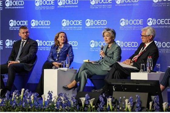 강경화 외교부 장관이 프랑스에서 열린 경제협력개발기구(OECD) 연례 각료이사회에 참석해 미세먼지 문제 해결을 강조하고 있다.[외교부 제공=뉴스1]