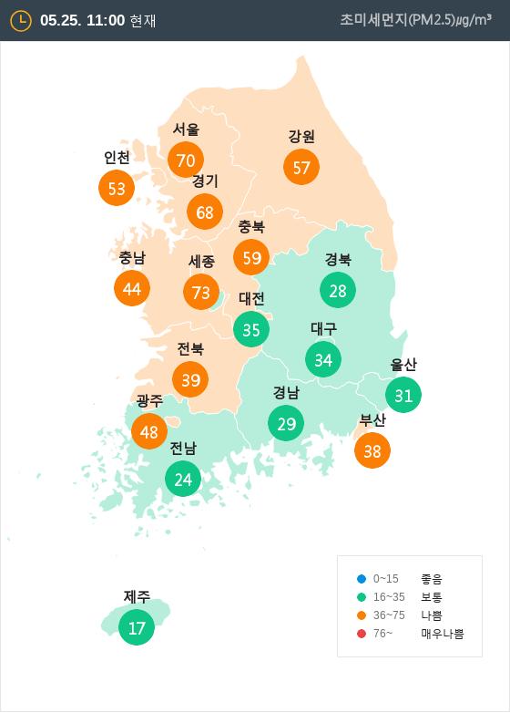 [5월 25일 PM2.5]  오전 11시 전국 초미세먼지 현황