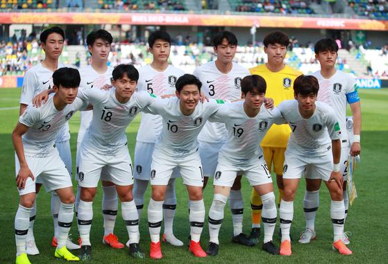 포르투갈전에 선발 출장한 한국 20세 이하 축구대표팀 선수들. [연합뉴스]