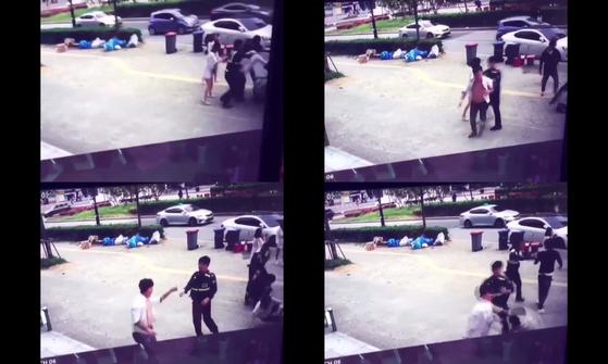 지난해 4월 30일 광주 광산구 수완동에서 발생한 집단폭행 사건 당시 영상. 경찰관이 피해자 진술을 듣는 상황에서 또다시 폭행하는 모습이 찍혔다. [페이스북 페이지 캡처]