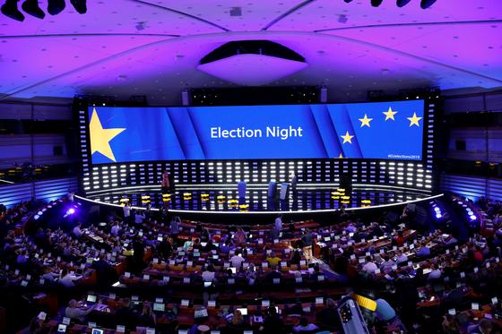 선거 당일 벨기에 유럽의회 본부 내부 전경. [로이터=연합뉴스]