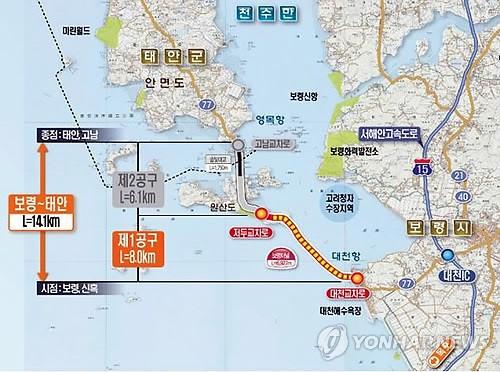 연륙교를 포함해 보령시 대천항과 태안군 안면도 영목항 사이 14.1km구간에 도로가 건설중이다. 이 구간에는 국내 최장의 해저터널(6.9km)이 건설중이다. [연합뉴스]