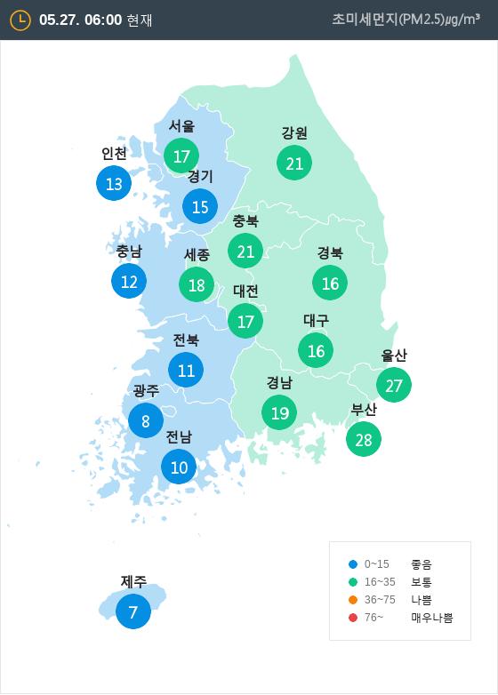 [5월 27일 PM2.5]  오전 6시 전국 초미세먼지 현황