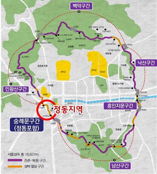 한양도성 순성길. 전체 25.7㎞ 길이의 보행로로, 이번에 정동 구간 750m가 복원된다. [그래픽 서울시]