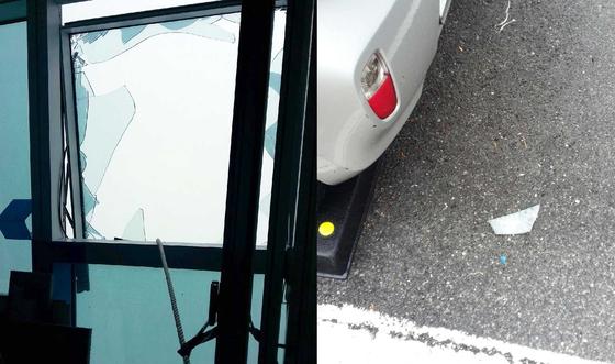 지난 27일 오후 2시 24분쯤 부산 해운대구 엘시티 랜드마크동(101층) 83층에서 강풍으로 유리창이 부서지는 사고가 발생했다. [사진 해운대소방서 제공]