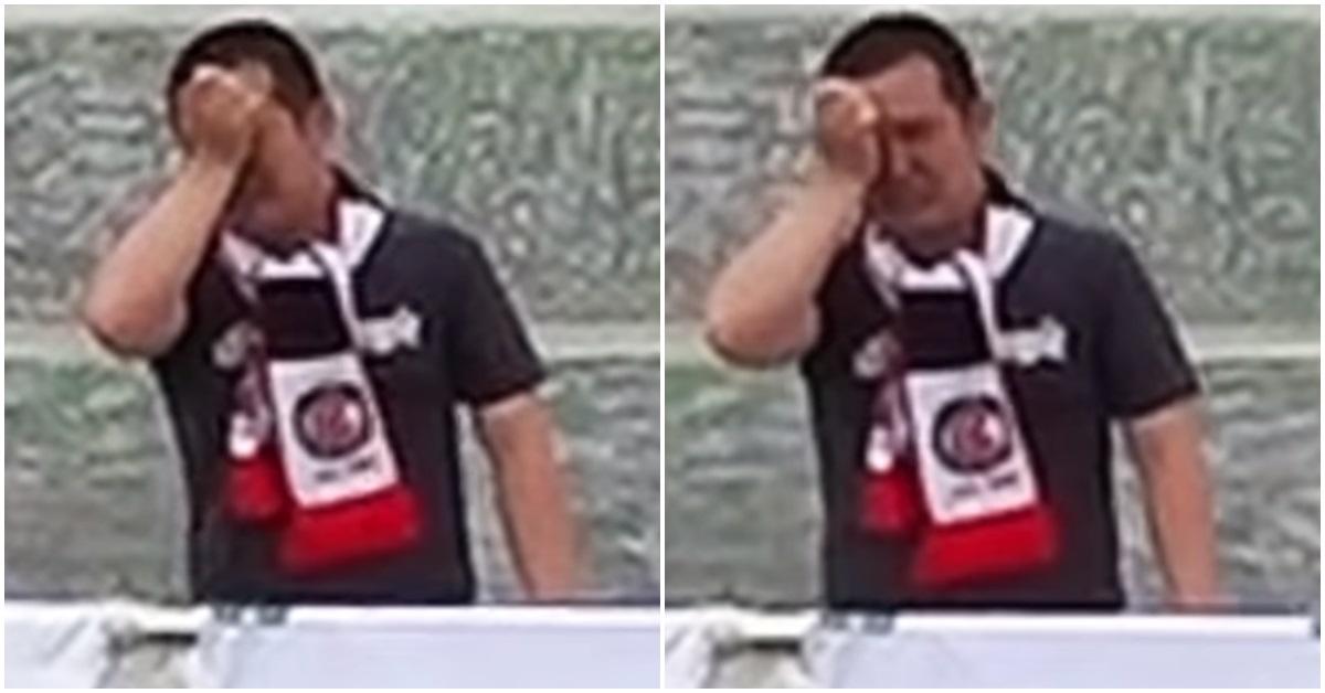 지난 18일 평창전 경기에서 눈물 흘리는 라대관씨. [사진 '비프로일레븐' 유튜브 영상 캡처]