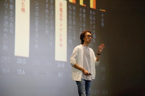 카카오재팬의 김재용 대표가 만화 앱 서비스 픽코마의 성장세에 대해 설명하고 있다. [사진 카카오재팬]