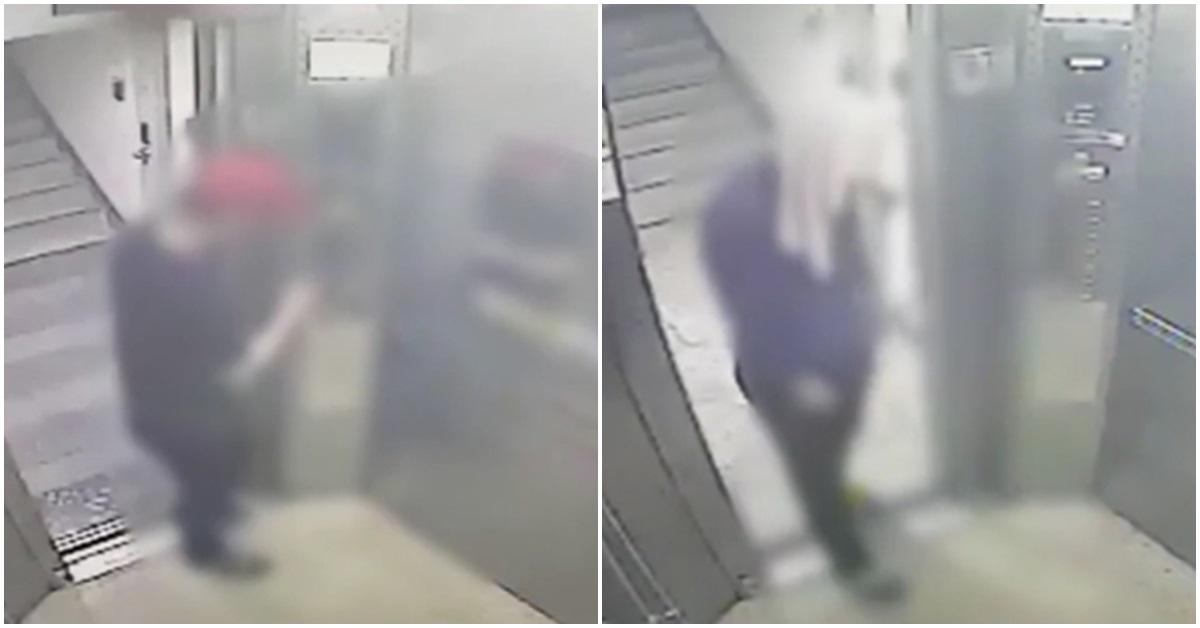범행 전 엘리베이터 타는 강간치사 피의자(왼쪽). [연합뉴스]