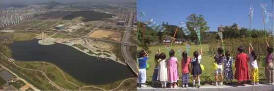 신도시 조성이 마무리된 1996년 일산과 분당. 하늘에서 내려다 본 일산 호수공원(왼쪽)과 분당 중앙공원을 찾은 어린이들.