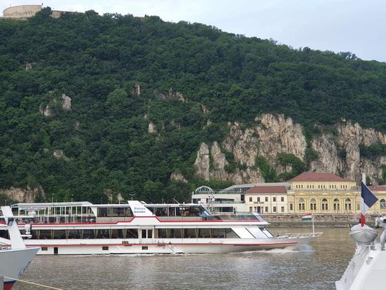 31일(현지시각) 오전 다뉴브강을 여전히 오가고있는 대형 크루즈선의 모습. 박태인 기자