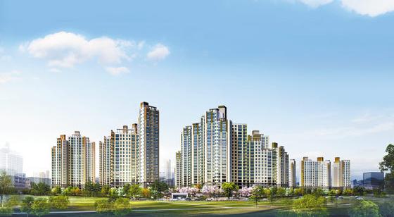 천안역 인근에 들어서 서울 출퇴근이 편리한 신천안 한성필하우스 에듀타운 투시도.