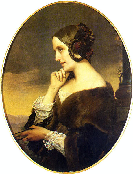 마리 다구 백작부인. 리스트의 연인으로 잘 알려졌다. 그녀의 살롱은 유명 정치인, 문인, 음악가들이 즐겨 찾았다. Henri Lehmann 그림. [그림 Wikimedia Commons (Public Domain)]