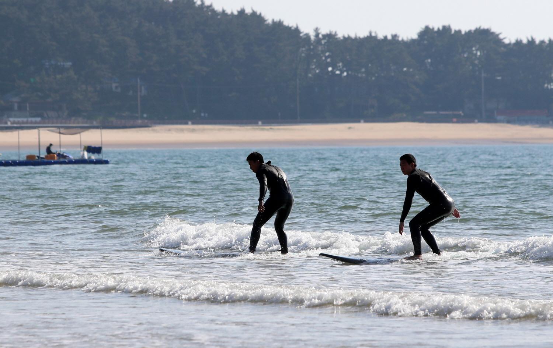 1일 개장한 충남 태안군 만리포해수욕장을 찾은 서퍼들이 파도를 타고 있다. [연합뉴스]