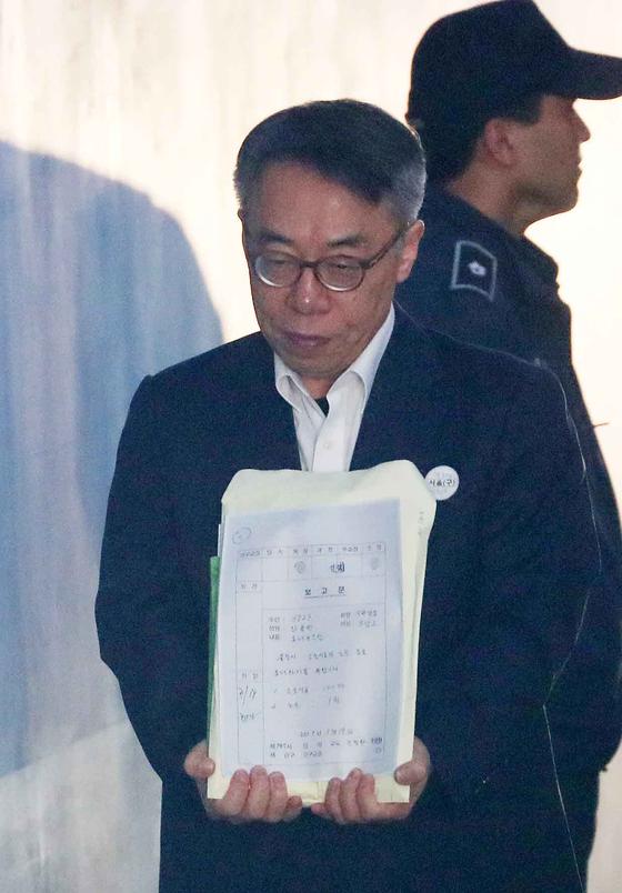 임종헌 전 법원행정처 차장이 지난달 3월 19일 서울 서초구 서울중앙지방법원에서 열린 2차 공판에 출석하고 있다. 김상선 기자.