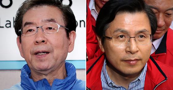 박원순 서울시장(왼쪽)과 황교안 자유한국당 대표. [연합뉴스·뉴스1]