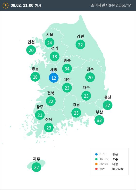 [6월 2일 PM2.5]  오전 11시 전국 초미세먼지 현황