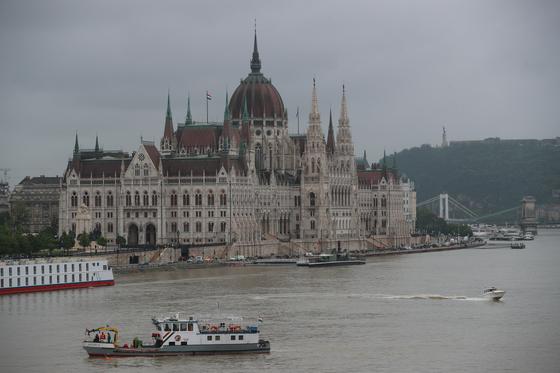 한국인 관광객들이 탑승한 유람선 '허블레아니'(헝가리어로 '인어')가 침몰한 헝가리 부다페스트 다뉴브강에서 지난달 30일 오후(현지시간) 구조단이 음파탐지기 소나로 수색을 하고 있다. [연합뉴스]