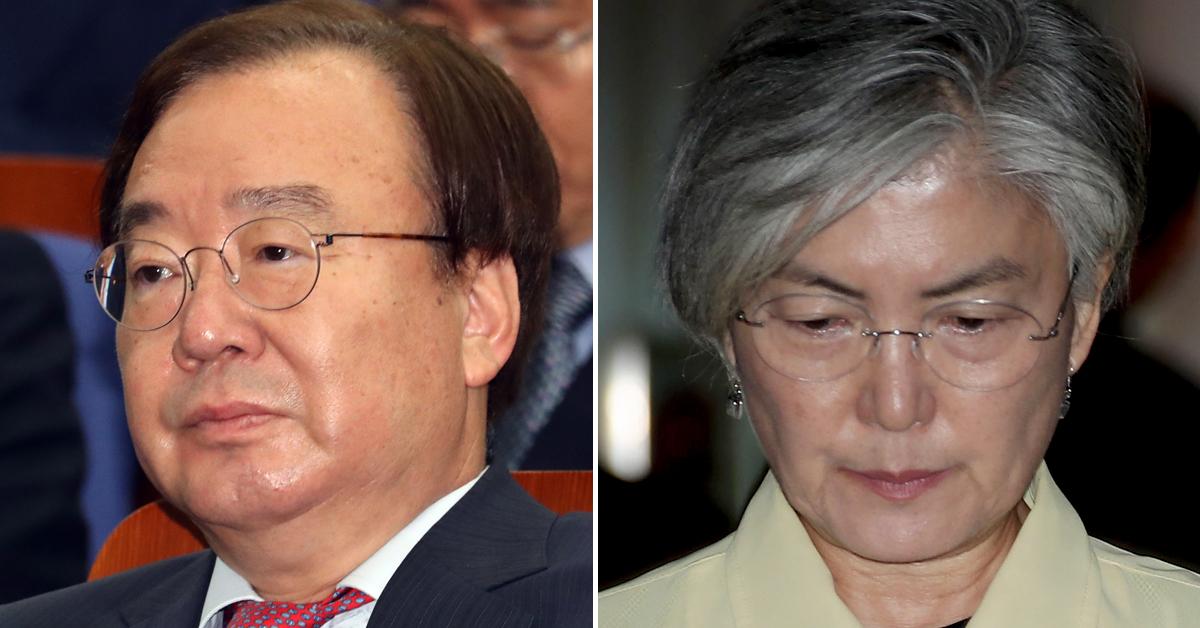 한·미 정상 통화내용 유출과 관련 강효상 한국당 의원(왼쪽)이 추가로 책임져야 한다고 생각하는 것으로 조사됐다. 이어 유출을 막지 못한 강경화 외교부 장관의 책임은 29.0%였다. [연합뉴스·뉴스1]