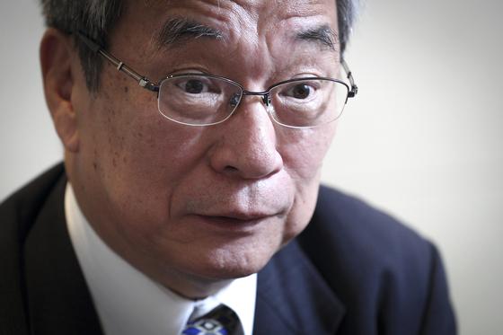미타니 히데시 전 일본 내각정보관이 북ㆍ일 정상회담과 관련해 입장을 설명하고 있다. 임현동 기자