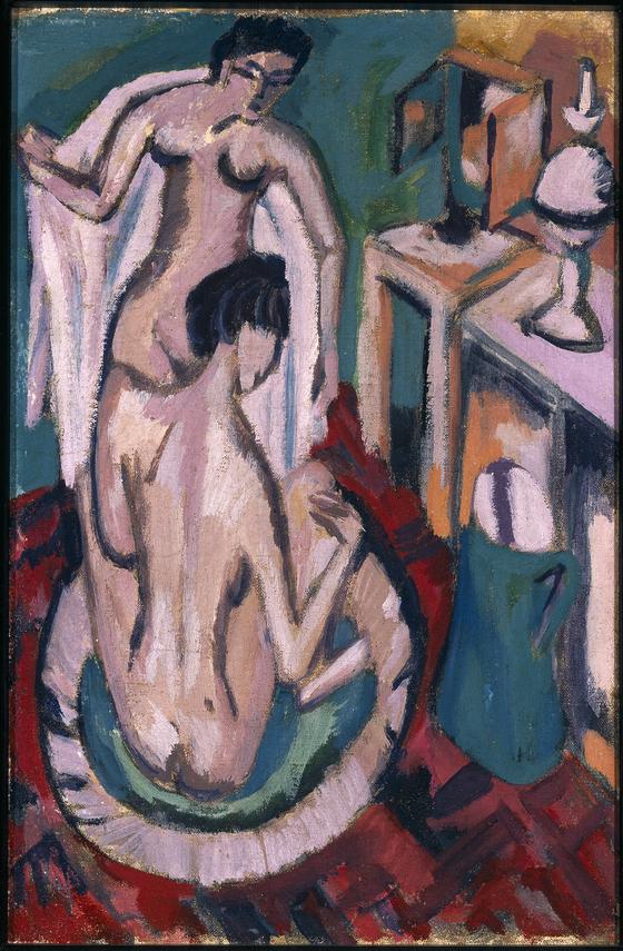 에른스트 키르히너의 '얕은 욕조 안의 두 소녀'. [사진 학고재]