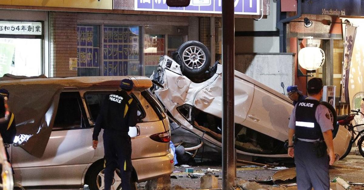 4일 오후 일본 후쿠오카시의 한 교차로에서 일어난 교통사고 현장. [연합뉴스]
