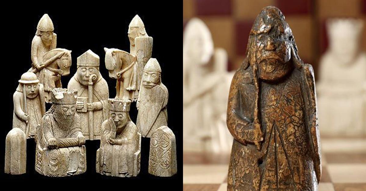 루이스 체스맨(왼쪽) 세트 중 이번에 발견돼 소더비가 공개한 체스 말 '루이스 워더'. [뉴시스, 연합뉴스]