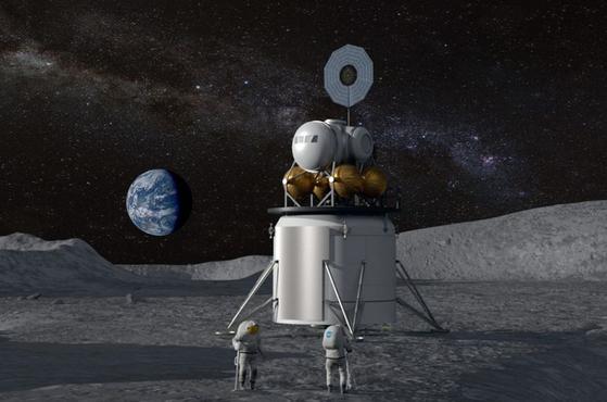 2024년 달에 내린 착륙선의 상상도. 아직 어떤 업체가 달 착륙선을 만들 것인지는 정해지지 않았다. [사진 NASA]