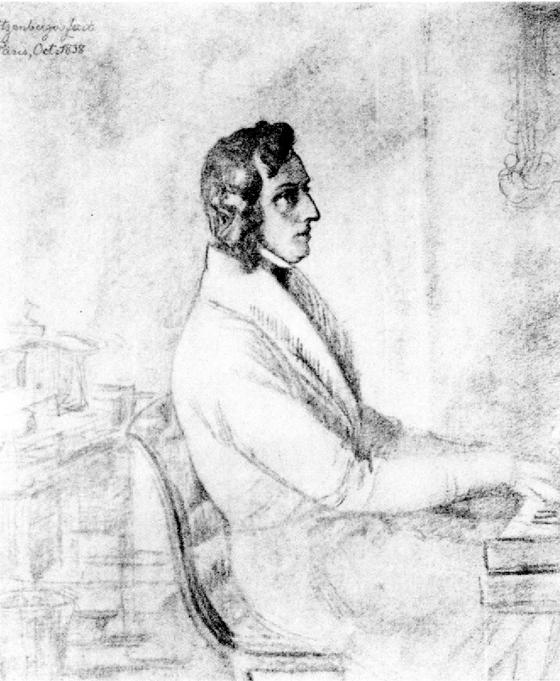 피아노 연주하는 쇼팽. [출처 Wikimedia Commons (Public Domain)]