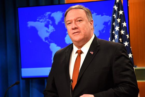 """마이크 폼페이오 미 국무장관이 13일 '2018 인권보고서'를 발표하며 """"중국은 인권에 관한 한 '그들만의 리그'에 있다""""고 비난했다. 북한은 언급하지 않았다.[미 국무부]"""