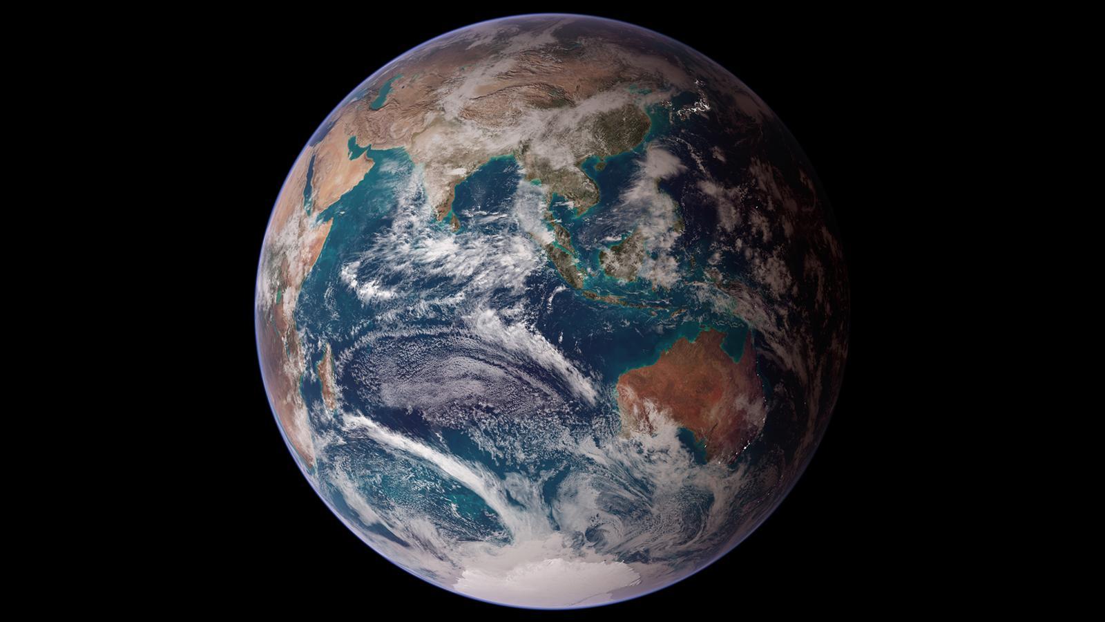 미 항공우주국 인공위성이 촬영한 지구. 지구 생태계를 하나의 거대한 생명체로 보는 가이아 이론에 따르면 인류는 지구 생태계 질서를 파괴하는 기생충 같은 존재로 비춰진다. [중앙포토]