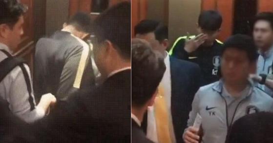 축구국가대표팀 주장 손흥민이 6일 부산 대표팀 숙소에 도착한 직후 팬의 손에 눈을 찔리는 일이 발생했다. 사진은 당시 손흥민을 곁에 있던 경호원이 공개한 영상 일부. [인스타그램]
