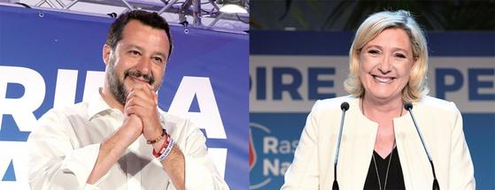 유럽의회 선거 결과 중도 주류 정당이 퇴조하고 극우·포퓰리즘 정당이 약진했다. 사진은 이탈리아 포퓰리스트 정당 '동맹'을 이끄는 마테오 살비니 부총리(왼쪽)와 프랑스의 극우정당 '국민연합(RN)'의 마린 르펜 대표. / 사진:연합뉴스
