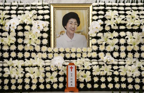 11일 서울 세브란스병원 장례식장에 마련된 고(故) 이희호 여사의 빈소 모습이다. [연합뉴스]