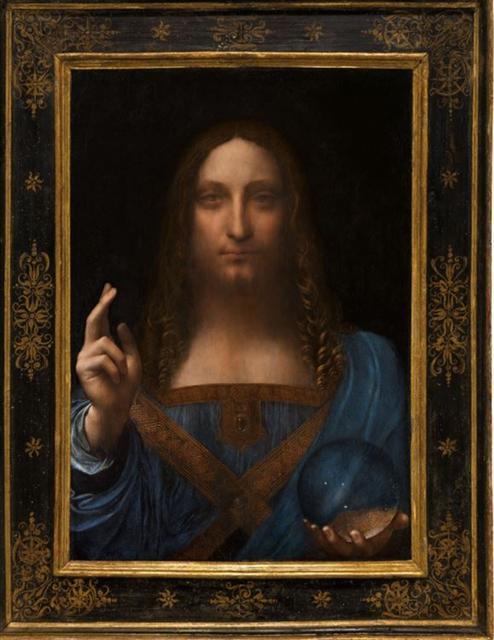 2017년 세계 예술품 경매 사상 최고가 기록을 세운 레오나르도 다빈치의 '살바토르 문디'(구세주). 뉴욕 크리스티 경매에서 4억5030만 달러(약 5000억원)에 낙찰됐다. [연합뉴스]