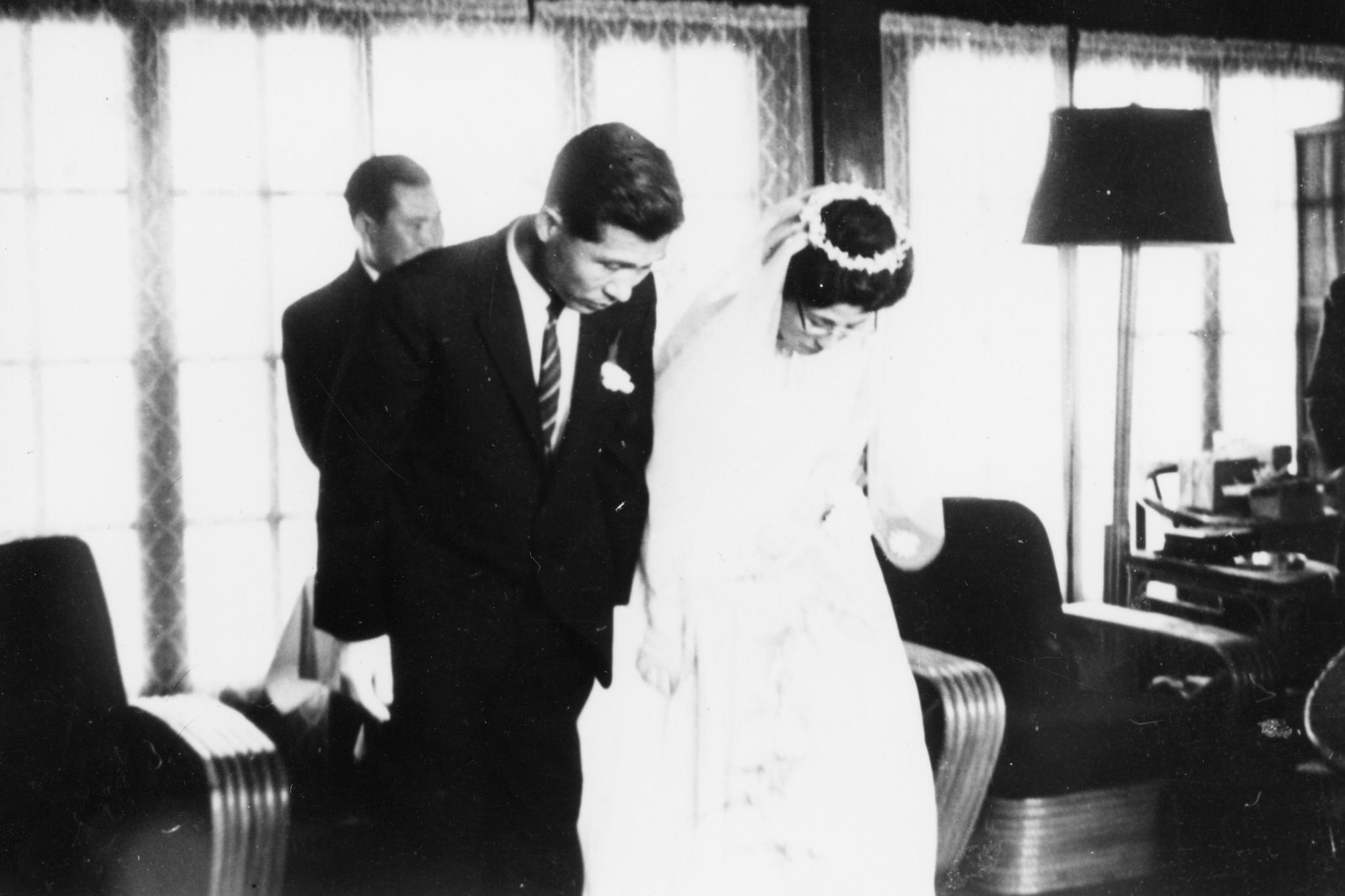 1962년 이희호 여사와 김대중 전 대통령의 결혼식 모습. [중앙포토]