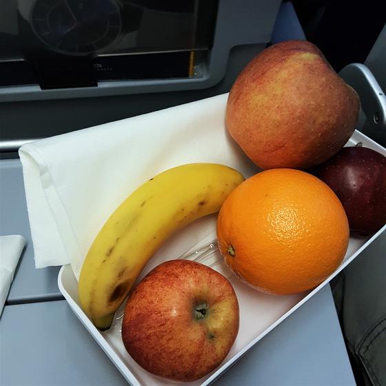 비행기에서도 사전에 신청하여 식사를 과일로 요청했다. 과일과 미리 준비해 간 샌드위치, 견과류를 먹었는데 장시간의 비행 후에도 몸이 가벼웠다. 공항터미널에서 김밥을 사서 탑승하는 것도 좋은 방법이다. [사진 심채윤]
